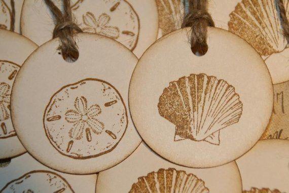 Beach Wedding Tags Summer Sea Shells Gift Tags Beach Wedding Favor Tags Wedding Tags Beach Wedding Favors Wedding Favor Tags