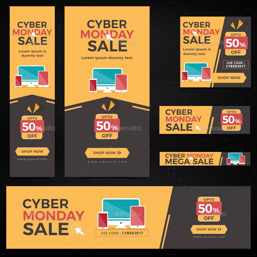 Cyber Monday Banners In 2020 Cyber Monday Banner Banner Sizes Cyber Monday