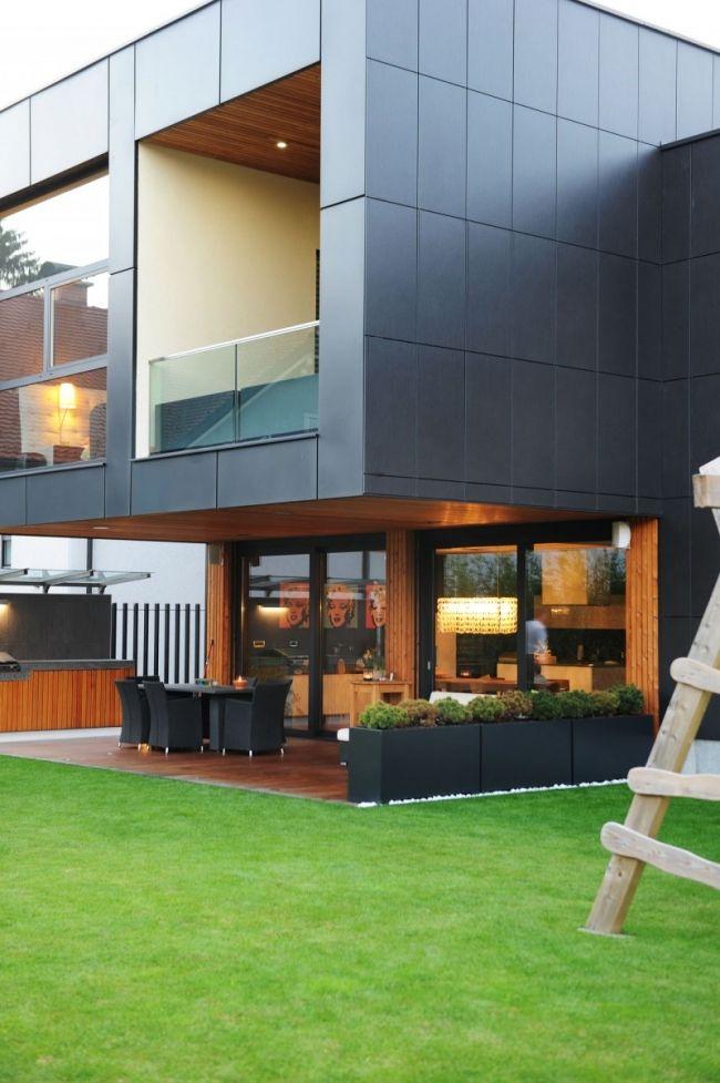 Idées pour décorer une maison contemporaine noire - facade de maison contemporaine