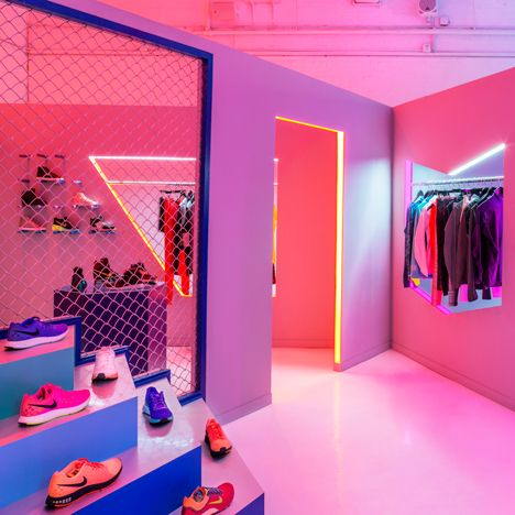 robert storey studio uses lurid colours to illuminate nike presentation space larchl display. Black Bedroom Furniture Sets. Home Design Ideas