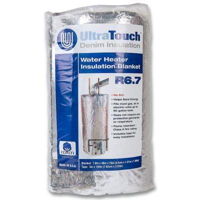 Ultratouch 48 In X 75 In Denim Insulation Hot Water Heater Blanket 60301 48752 Water Heater Blanket Blanket Insulation Water Heater