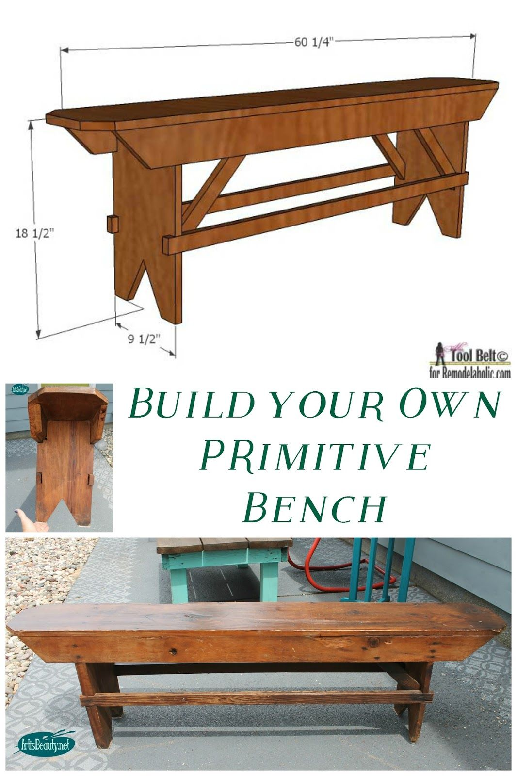 build your own primitive bench furniture pieces diy furniture woodworking projects. Black Bedroom Furniture Sets. Home Design Ideas