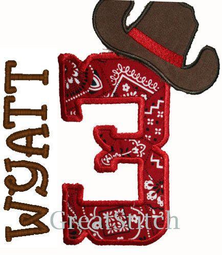 GreatStitch Cowboy Birthday 1st 2nd 3rd Boy Girl Shirt