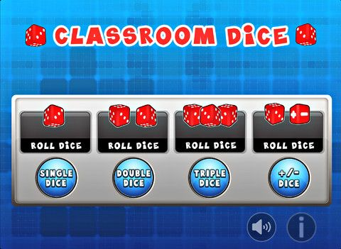 Classroom Dice ($0.00) This virtual dice app can be used for classroom games, help understanding of addition, subtraction, positive and negative numbers, or probability.     The complete set includes single, double, triple and positive / negative dice.