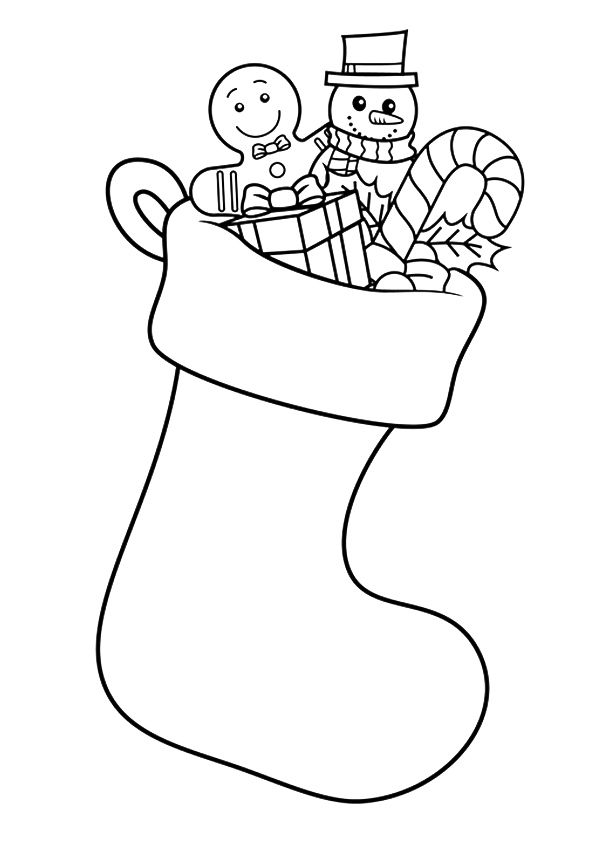 Large Christmas Stocking Coloring Page Pictures