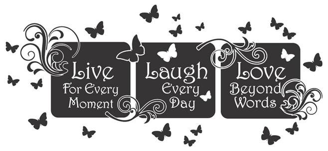 Live Laugh Love Floral Mural Quote...Vinyl Wall Art Decal