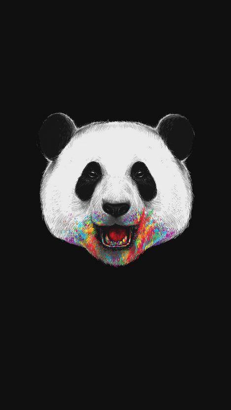 Happy Panda Minimal Iphone Wallpaper Hewan Lucu Hewan Animasi