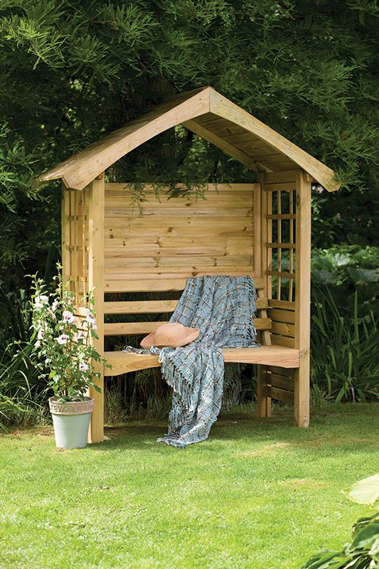 Forest Garden Cadiz Arbour Compact arbour seat with a solid back to provide protection against the elements. A place to sit back and relax. & Cadiz Arbour | Forest Garden | Outdoor | Pinterest | Arbors ...