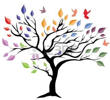 Arbol de la vida ilustraci n vectorial de un rbol con for Pintura color albero