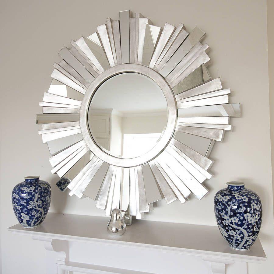 striking silver contemporary mirror sunburst mirror on wall mirrors id=76203