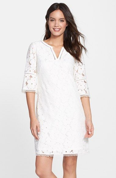 6663634ceb Free shipping and returns on Adrianna Papell Floral Lace Bell Sleeve Shift  Dress (Regular   Petite) at Nordstrom.com. Fringed floral lace is shaped  into a ...
