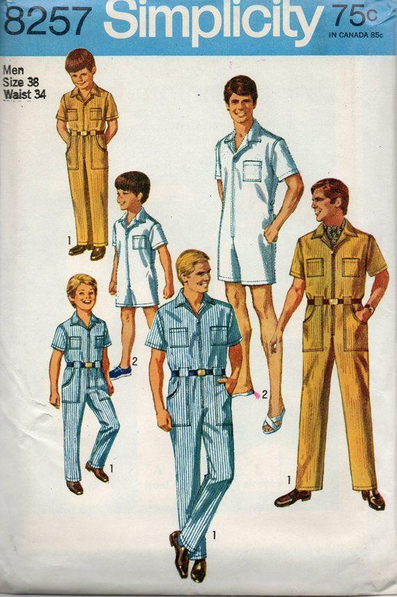 Simplicity 8257 1960s Mens Jumpsuit Romper Pattern Coveralls Uniform ...