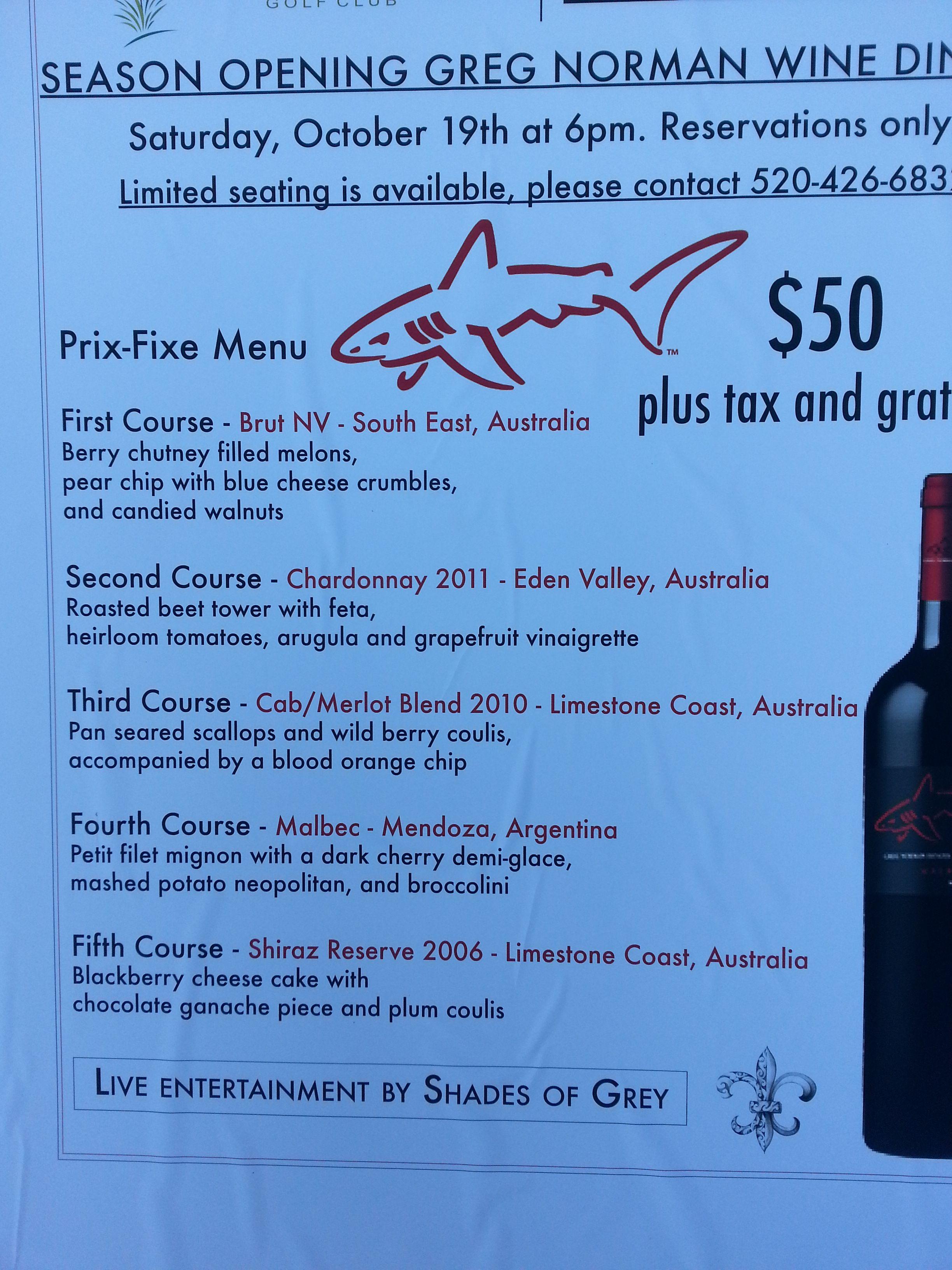 #winedinnermenu #gregnormanwine