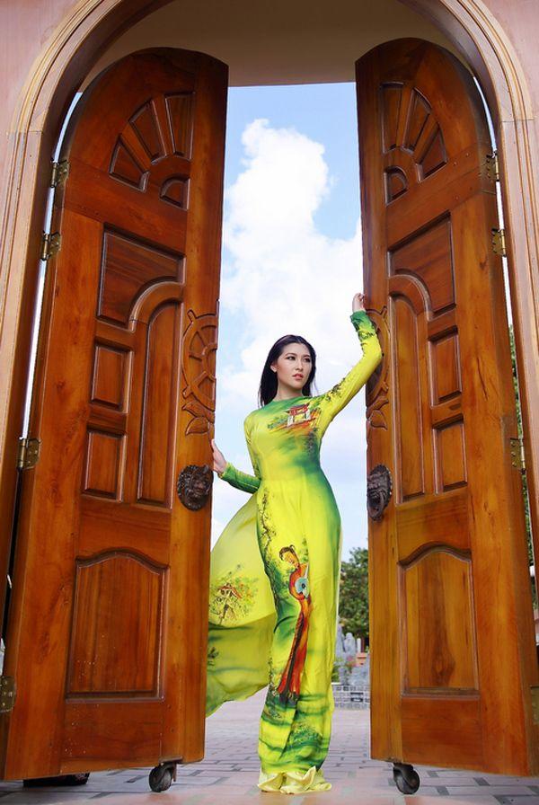Áo dài | Vải áo dài vẽ | Áo dài Vietnamese Fashion