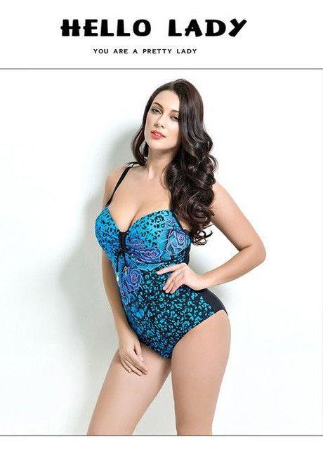 ab93e7da22fc2 2017 Summer Style Womens Plus Size One Piece Swimsuit Print Swimwear Padded  Monokini Women Bathing Suits Large Bust Swimsuits