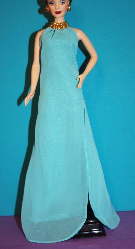 Barbie Look Pool Chic Aqua Blue Evening Dress Full Length Gown W
