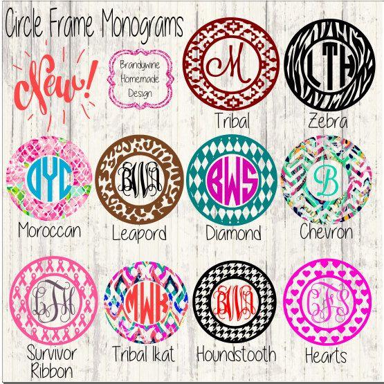 Circle Monogram Frames Vine Monogram Fancy Monogram Circle - Circle monogram car decal