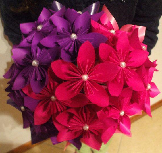 fleurs en origami kusudama bouquet fleur bouquet de mari e de mari e de mari e rose pourpre on. Black Bedroom Furniture Sets. Home Design Ideas