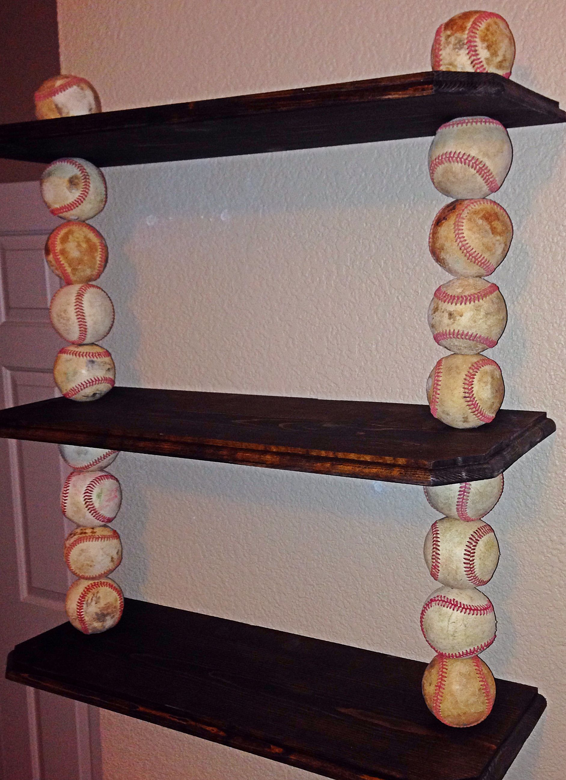 Custom made to order baseball shelves All shelves are made from
