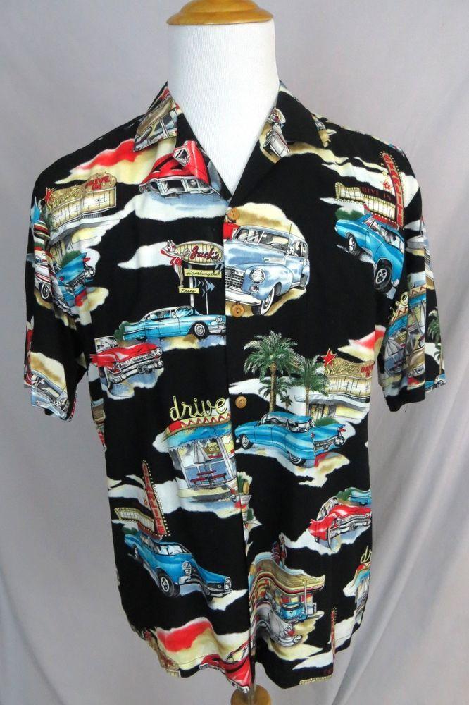 Paradise Found Hawaiian Shirt Medium General Motors Corvette Cars Racing Camp Gm Paradisefound