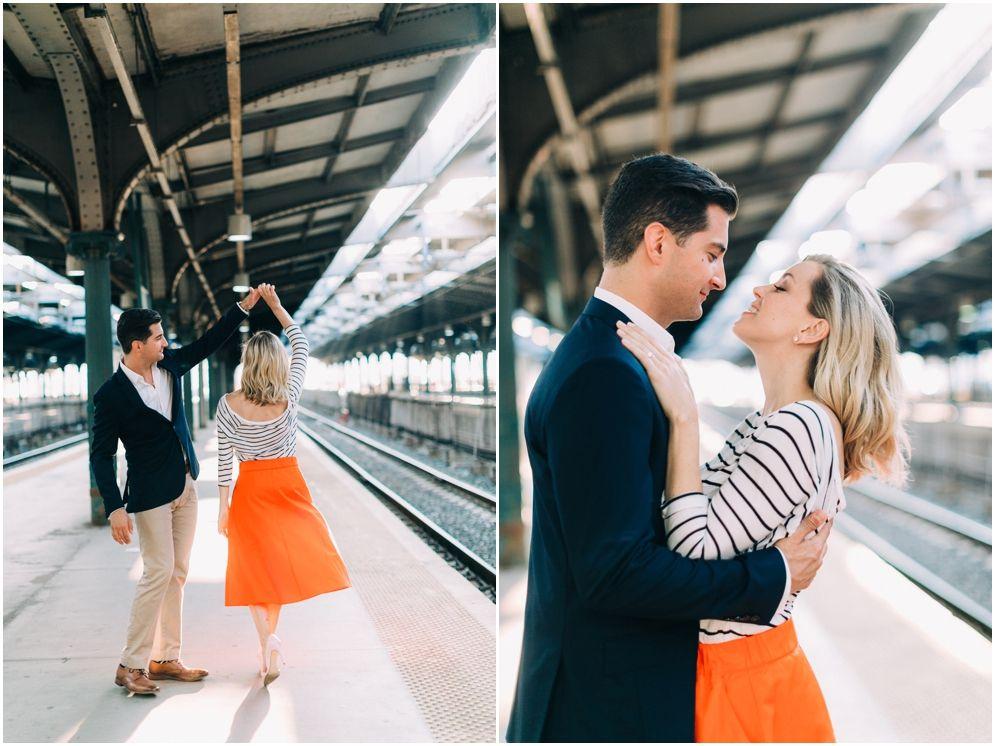 Nyc Wedding Photographers Brooklyn Ny Hoboken Train Station Engagement Photo Shoot Session Inspiration