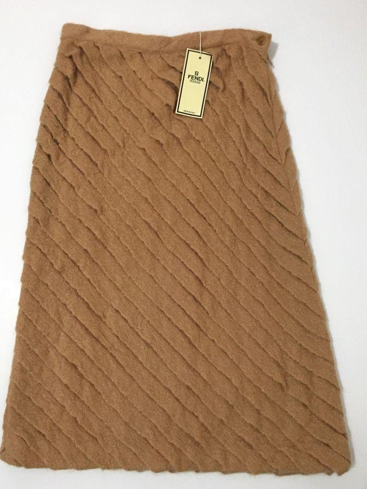 New Vintage Fendi Camel Brown Diagonal Ruffle Nylon Mohair Skirt Sz 40 US 10   eBay