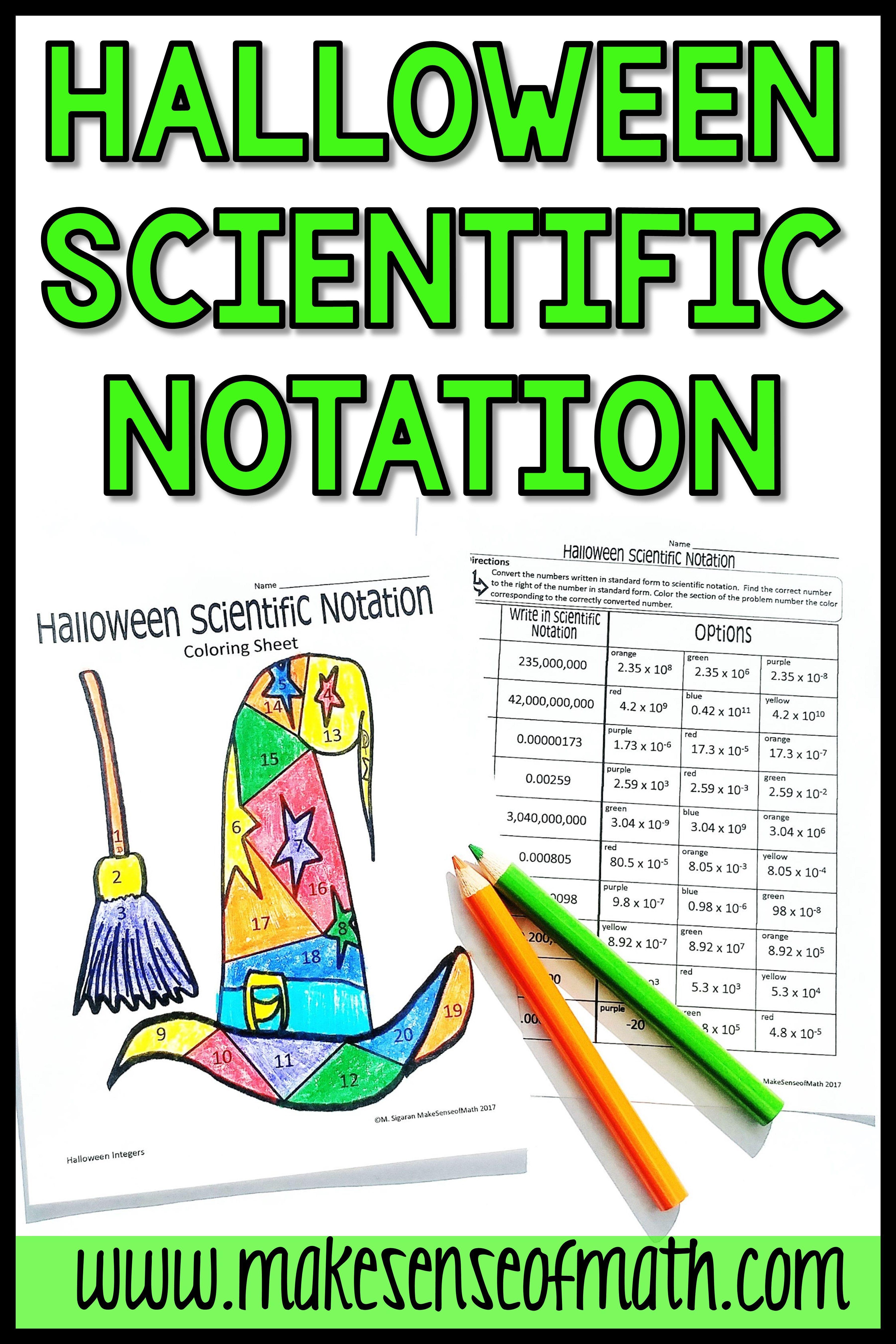 Halloween Math Activity Scientific Notation In