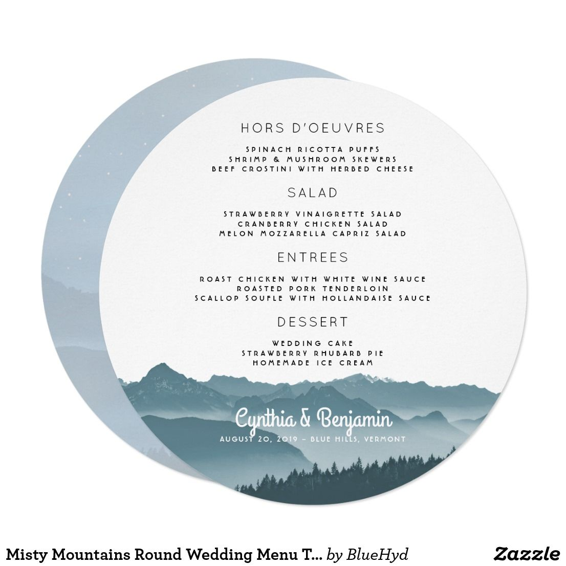Misty Mountains Round Wedding Menu Template  Menu Templates