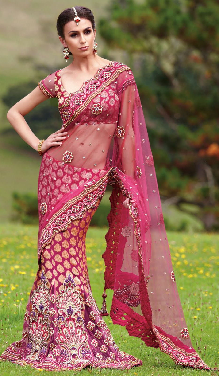 Makeup For Pink Saree Party wear sarees, Saree designs