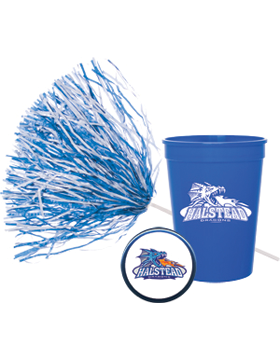 Customized Fundraising Packages Spirit Pom, Stadium Cup, and Button