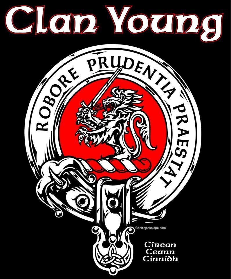 clan young crest badge - Motto: Robore Prudentia Praestat ...