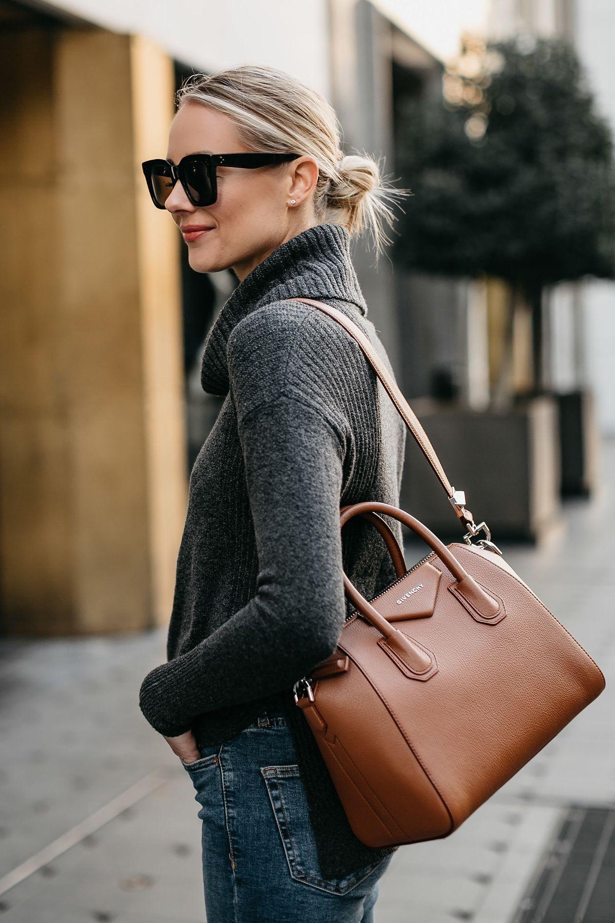 831439d9c9fc Blonde Woman Wearing Grey Turtleneck Sweater Givenchy Antigona Cognac  Handbag Fashion Jackson Dallas Blogger Fashion Blogger Street Style