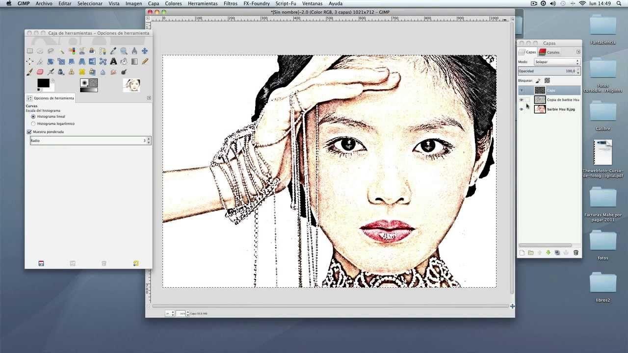 Transformar una foto a dibujo a color con Gimp
