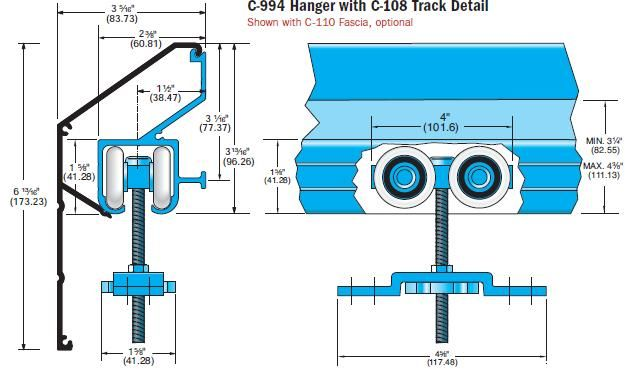 Our 350 Lb Capacity Box Track Sliding Door Hardware Is