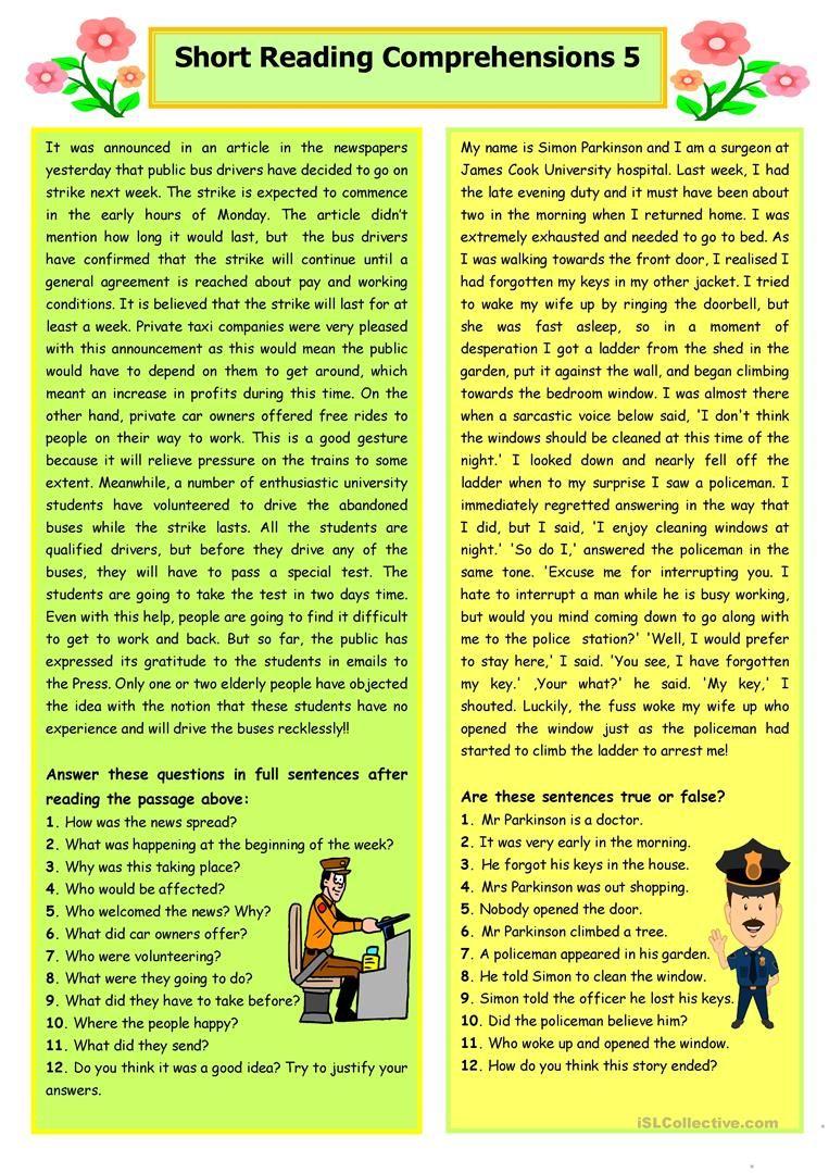 Short Reading Comprehensions 5 Reading Comprehension Reading Comprehension Activities Reading Comprehension Passages [ 1079 x 763 Pixel ]