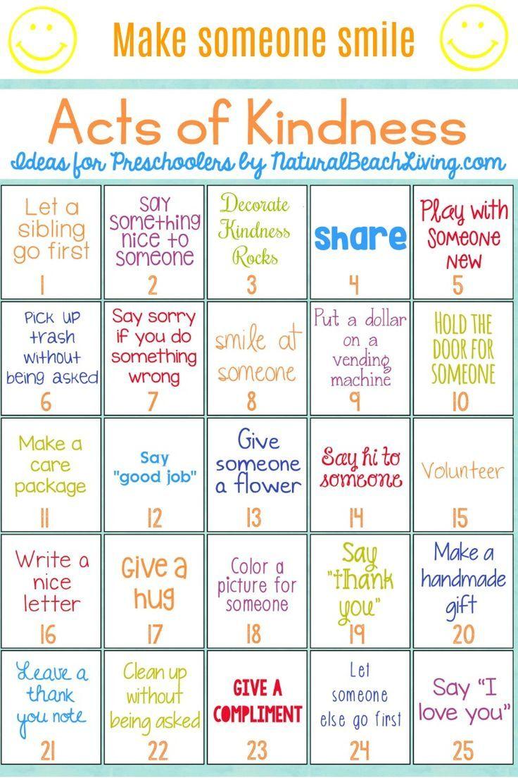 Kids Kindness Calendar : Best random acts of kindness ideas for preschoolers