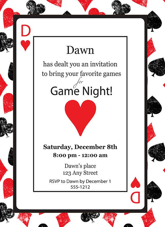 Game Night Casino Playing Card Poker Queen of Hearts Birthday – Playing Card Party Invitations