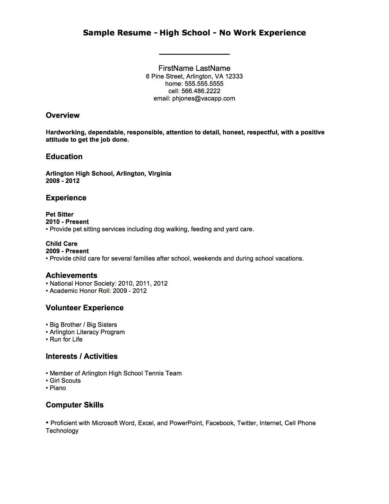 Resume With No Work Experience Example No Work Experience  Resume Examples And Teacher
