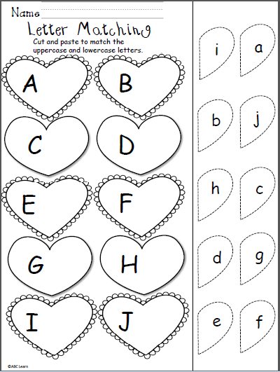 Valentines Day Letter Matching  Cut and Paste  Schoo