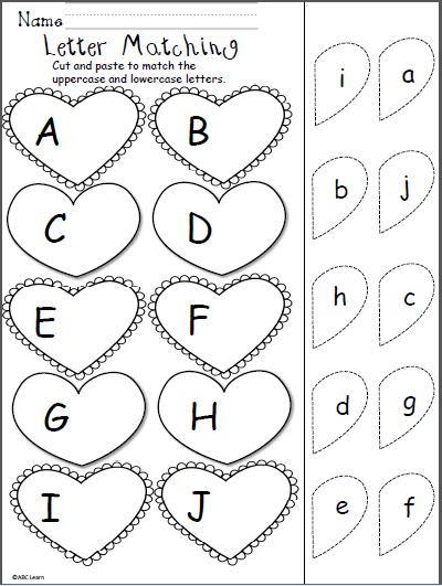 valentine s day letter matching cut and paste kindergarten february preschool valentine. Black Bedroom Furniture Sets. Home Design Ideas