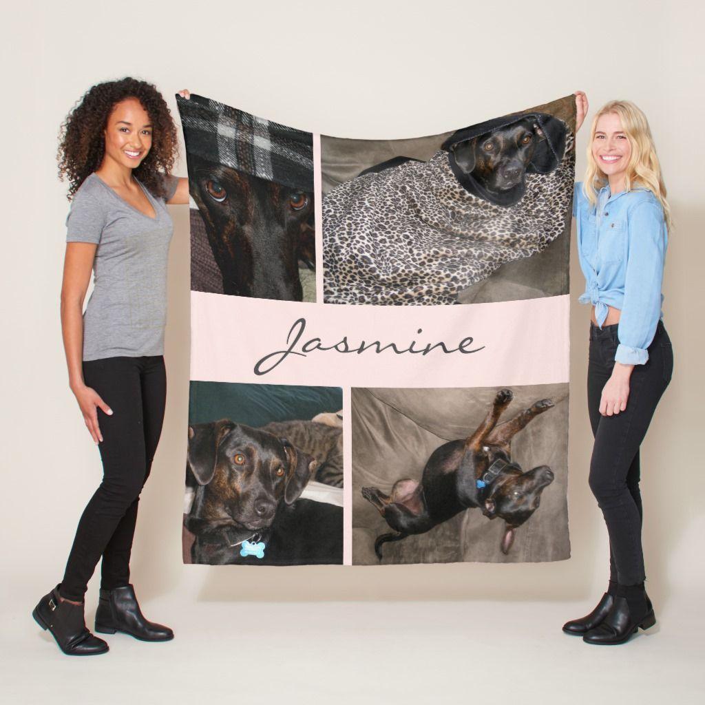 Blush Pink Photo Collage Fleece Dog Blanket Photo Blanket Dog