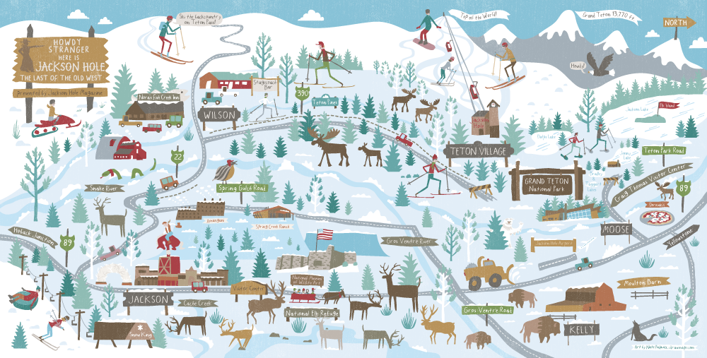 Wintry Jackson Hole map by Nate Padavick