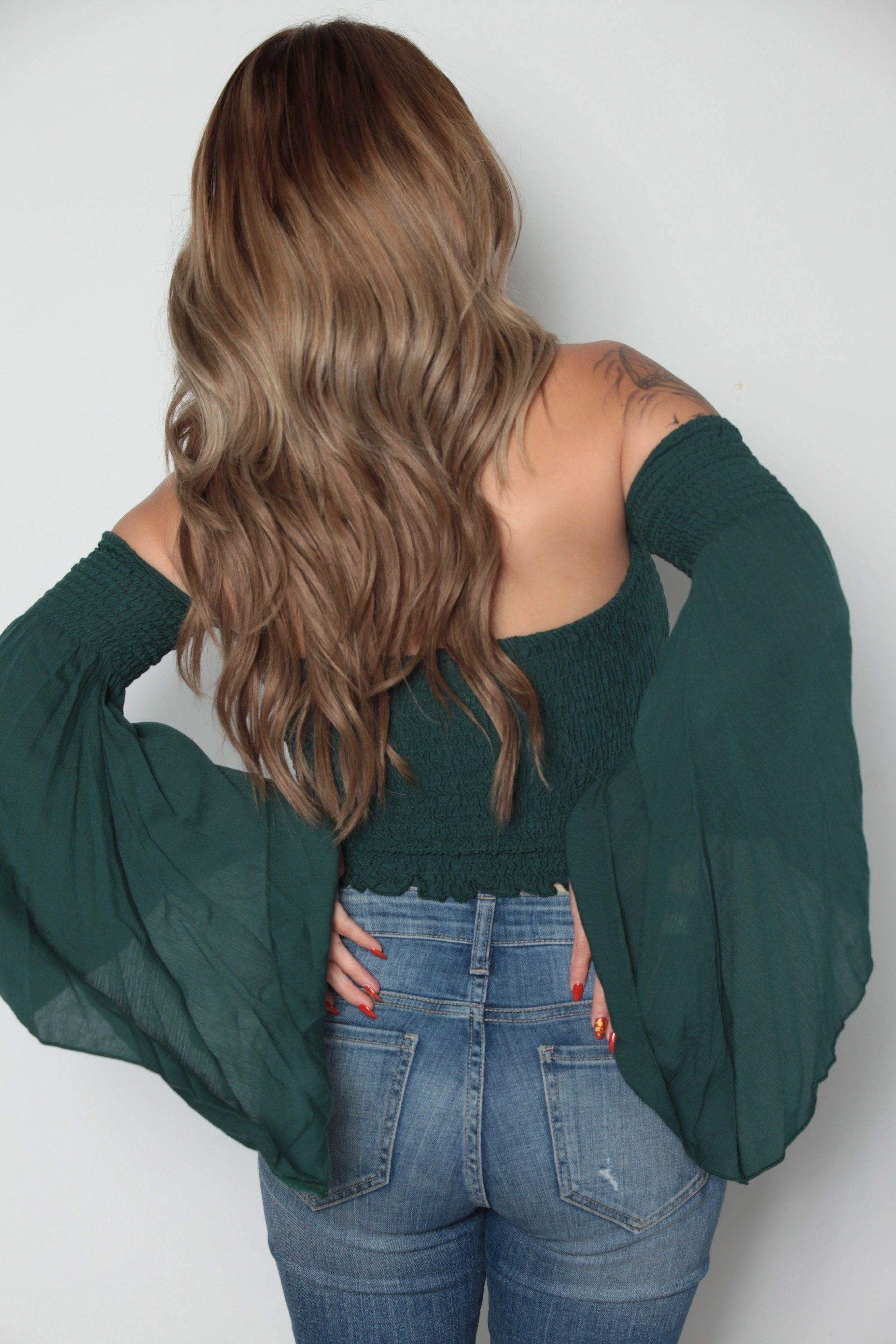 smocking bell sleeve boho babe hunter green | products | pinterest