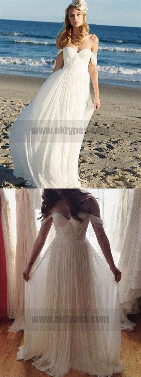 Off shoulder unique casual cheap beach wedding dresses typ off