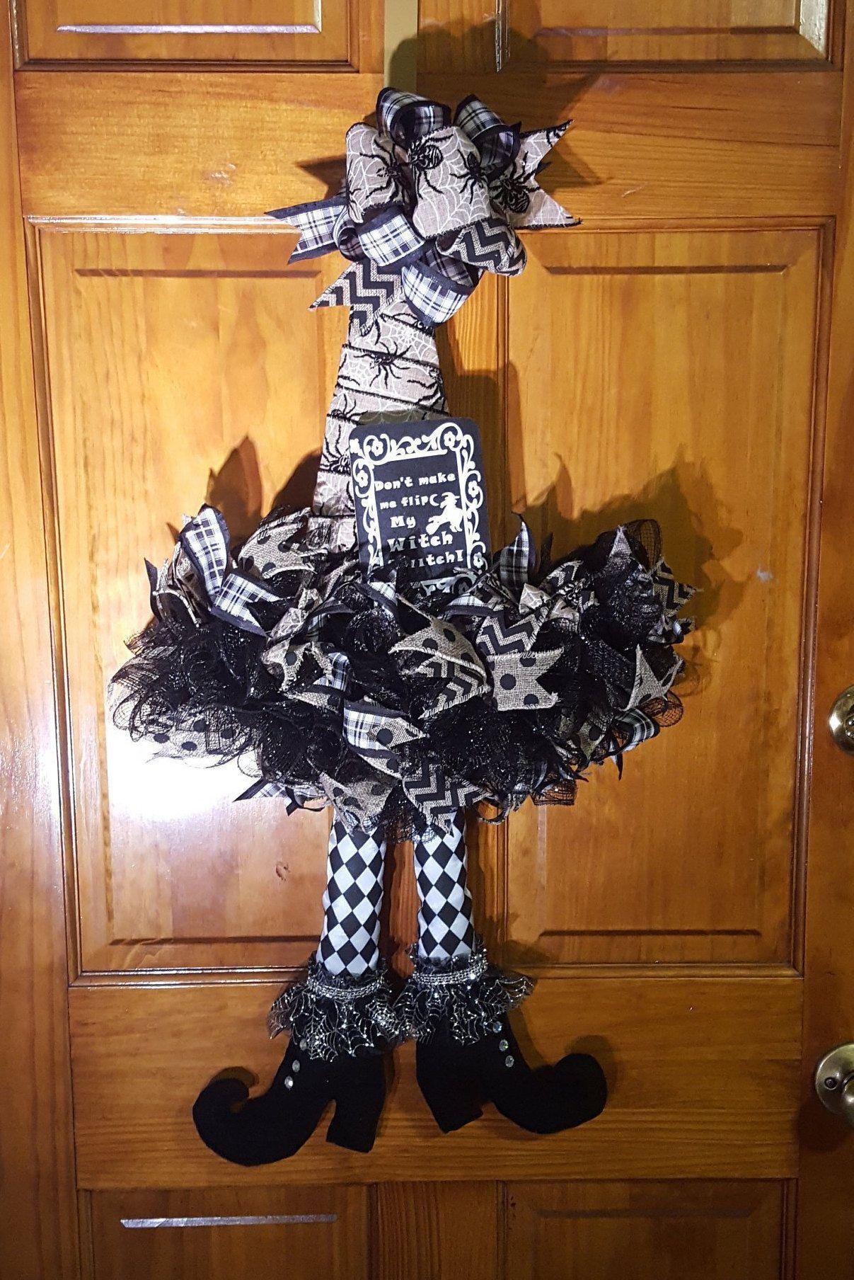 Witch Hat Wreath, Witch Hat Door Hangerr Halloween mesh