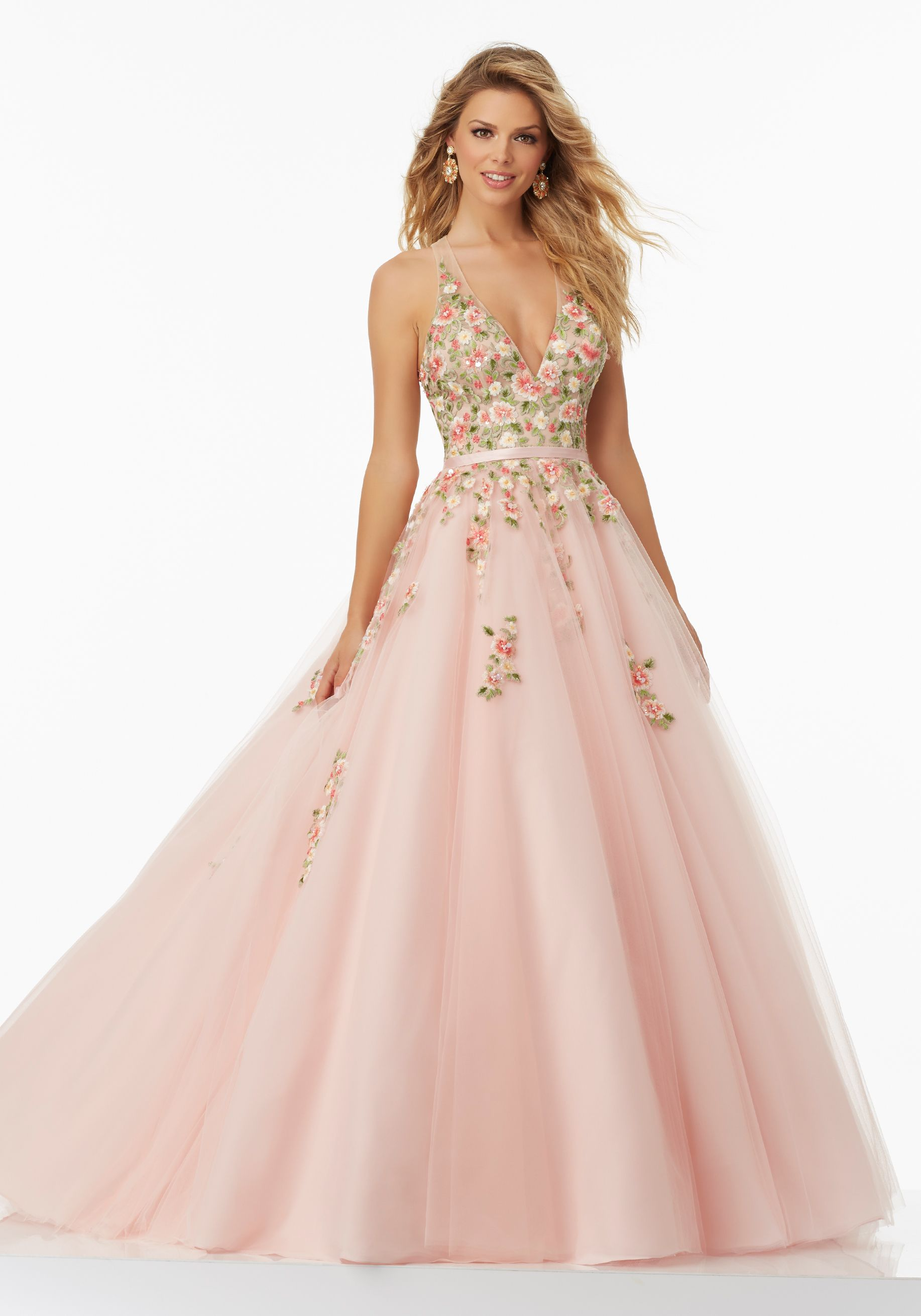 Mori lee light pink prom dress v neck A line ball gown floral | Prom ...