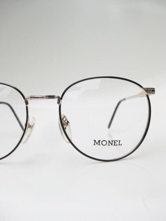 a3a228338139 Vintage Round Eyeglasses Mens Womens Unisex Metal Frame Black Brass Gold  Metallic P3 Geek Chic Nerdy Preppy 1980s 80s Grunge NOS Geeky