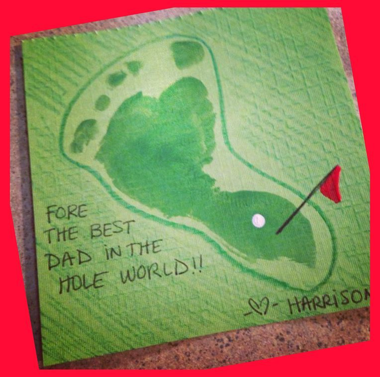 Baby Footprint Golf Artwork For Fathers Day