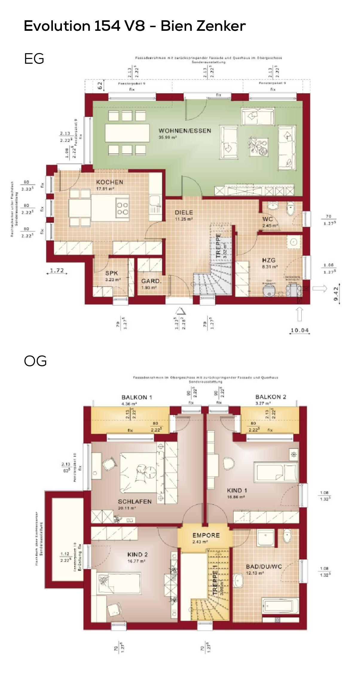 Grundriss Stadtvilla modern mit Flachdach Architektur im