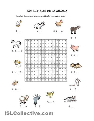 TE CUENTO UN CUENTO: Sopa de letras (Animales de la granja)